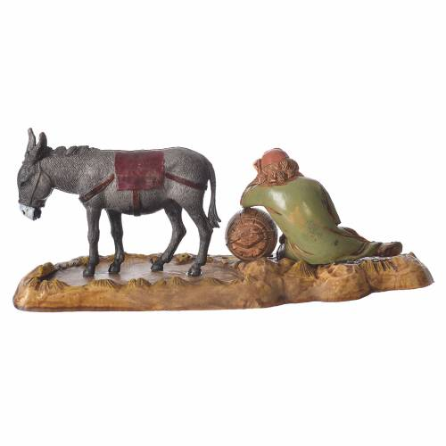 Scene with sleeping man and donkey, nativity figurines, 10cm Moranduzzo s3