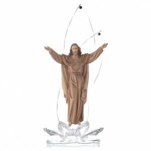 Bonbonnières: Sculpture bois Christ Ressuscité h 31 cm avec cristaux