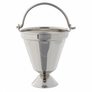 accessoires pour bénédictions: Seau à eau bénite nickelé modèle simple