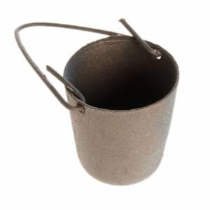 Attrezzi da lavoro presepe: Secchio in metallo con manico presepe fai da te