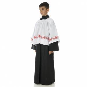 First Communion Albs: Server surplice and black cassock