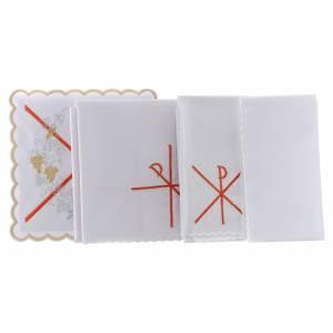 Service linge autel coton symbole Chi-Rho broderie rouge s2