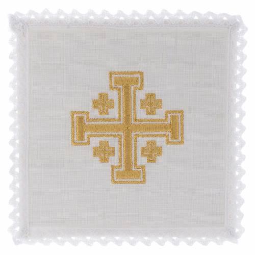 Servizio da altare lino croce di Gerusalemme s1