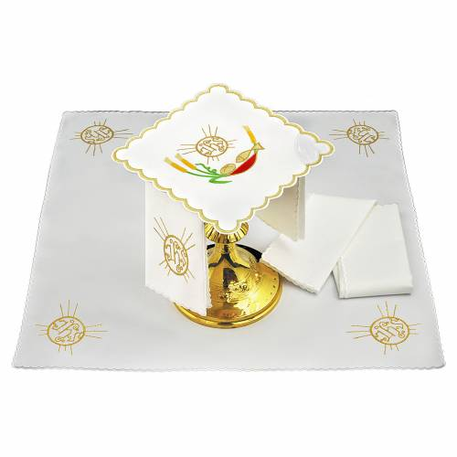 Servizio da altare lino pane pesce spighe simbolo JHS s1