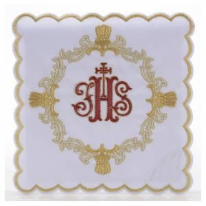 Servizi da messa e conopei: Servizio da mensa 4pz. ricamato simbolo IHS rosso