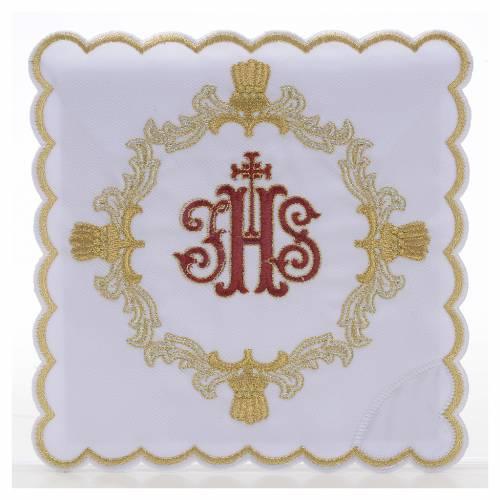 Servizio da mensa 4pz. ricamato simbolo IHS rosso s1