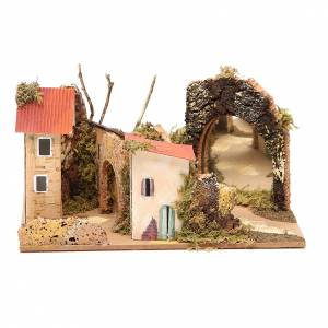 Setting for nativities with mirror measuring 15x20x14cm, assorted models s5
