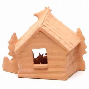 Shed and Nativity natural terracotta 20x24x14cm s4