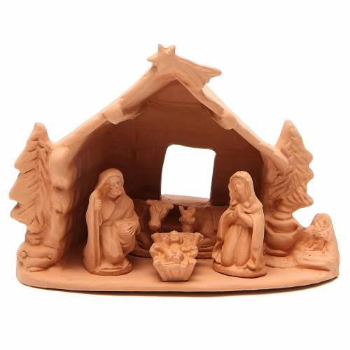 Shed and Nativity natural terracotta 20x24x14cm s1