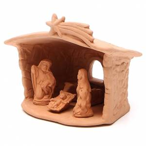 Shed with Nativity in terracotta 15x13x11cm s2
