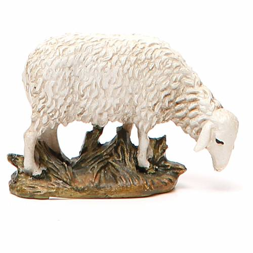 Sheep looking down in painted resin, 10cm Martino Landi Nativity s1