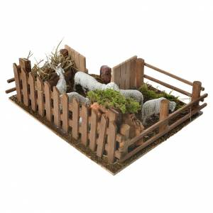 Sheepfold with dog for nativities 6x19x14cm s3