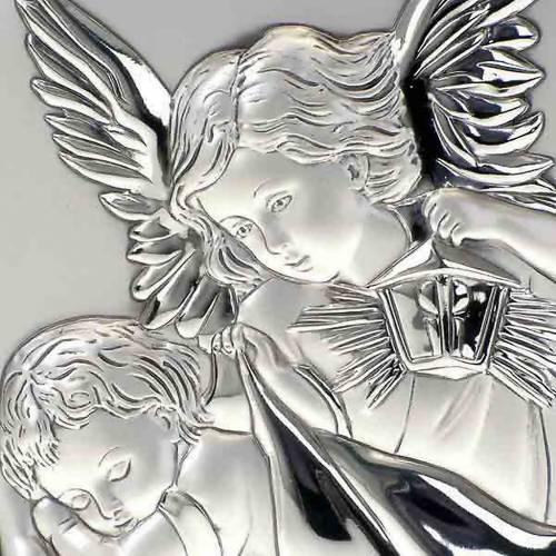 Silver Bas Relief Guardian Angel, oval 4
