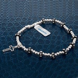 Silver elastic bracelet and Swarovski pearls s3