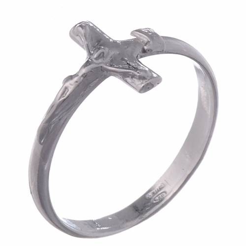 Silver ring with crucifix s1