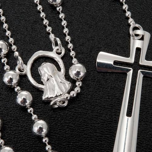 Silver rosary necklace, silver 925 4 mm beads s4