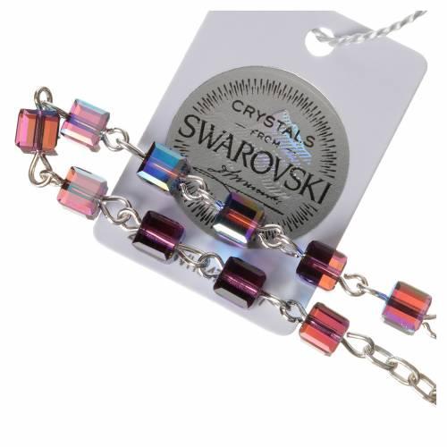 Single-decade rosary 800 silver, Swarovski square grains, fuchsi s3