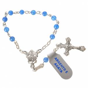 Single decade rosaries: Single-decade rosary in 800 silver and agate, blue