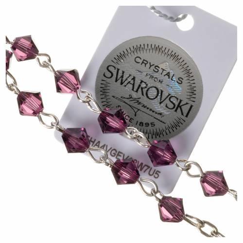 Single-decade rosary in 800 silver and fuchsia Swarovski s3