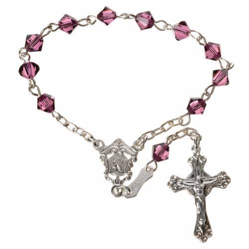 Single-decade rosary in 800 silver and fuchsia Swarovski s1