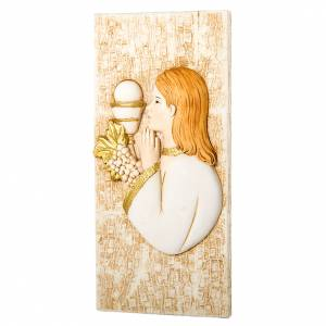 Small painting Girl First Communion 7x15cm s1