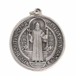 Medals: St Benedict medal in silver plated metal, 3 cm