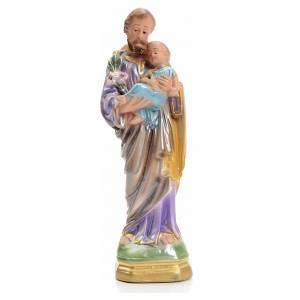 St Joseph et enfant en plâtre perlé 16 cm s1