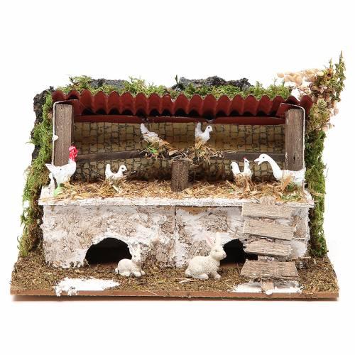 Stalla presepe con polli e conigli 12x20x14 cm s1