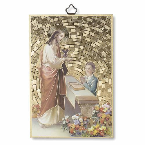 Stampa su legno Gesù Bimbo Preghiera Ringraziamento diploma Comunione ITA s1