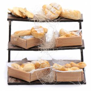 Neapolitan Nativity Scene: Stand with bread and baskets for Neapolitan nativity scene 5x5x5 cm