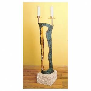 Armleuchter: Standleuchter 2 Flammen Marmor und Bronze Molina