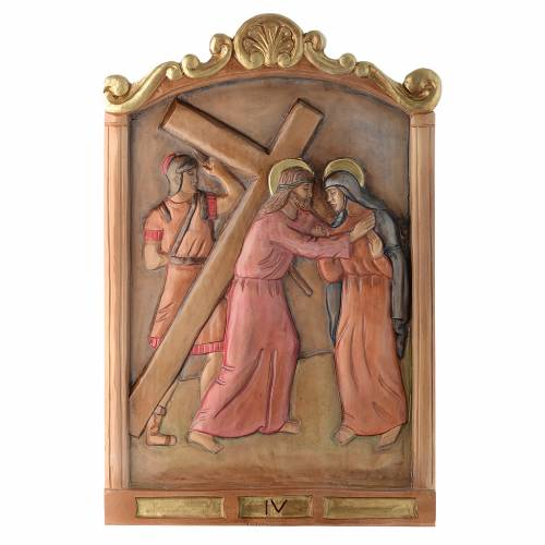 Stations of the Cross wooden relief, painted s4