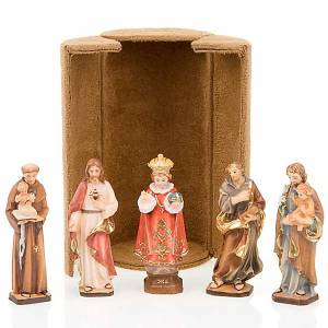Statue in legno dipinto: Statua bijoux Gesù e Santi con scatola nicchia