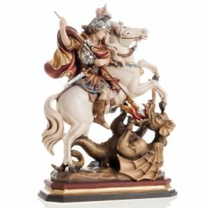 Statue in legno dipinto: Statua legno San Giorgio cavallo dipinta Val Gardena