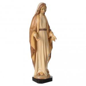 Statua Madonna Immacolata legno Valgardena diverse tonalità marrone s4