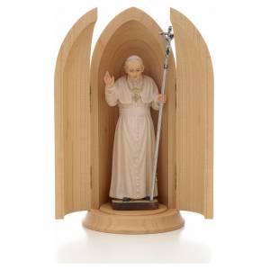Statua Papa Giovanni Paolo II in nicchia legno s1