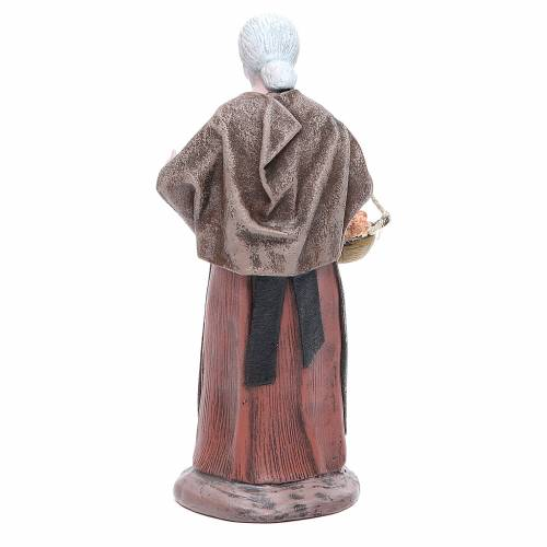 Statua presepe terracotta anziana con cesta 17 cm s3