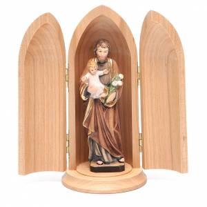 Statue in legno dipinto: Statua San Giuseppe con bambino in nicchia legno dipinto