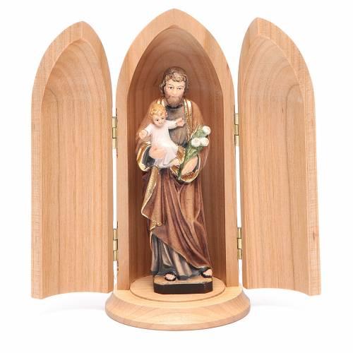 Statua San Giuseppe con bambino in nicchia legno dipinto s1