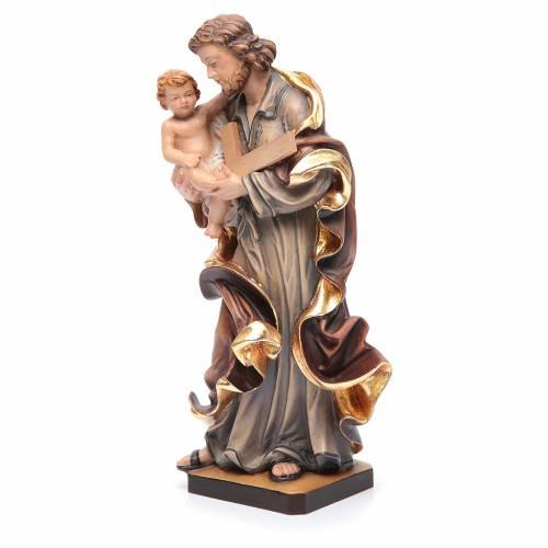 Statua San Giuseppe con Bambino legno dipinto colorato s2