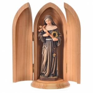 Statue in legno dipinto: Statua Santa Rita in nicchia legno dipinto