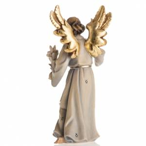 Statue bois Archange Gabriel peinte s4