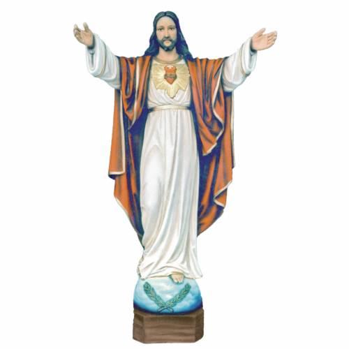 Statue Christ Rédempteur marbre reconstitué 100cm peinte s1