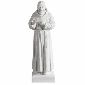 Kunstmarmor Statuen: Statue Pater Pio 40 cm Kunstmarmor Weiß