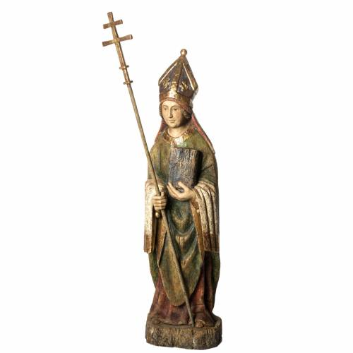 Statue Saint Evêque, 95cm in painted wood, Bethléem s1