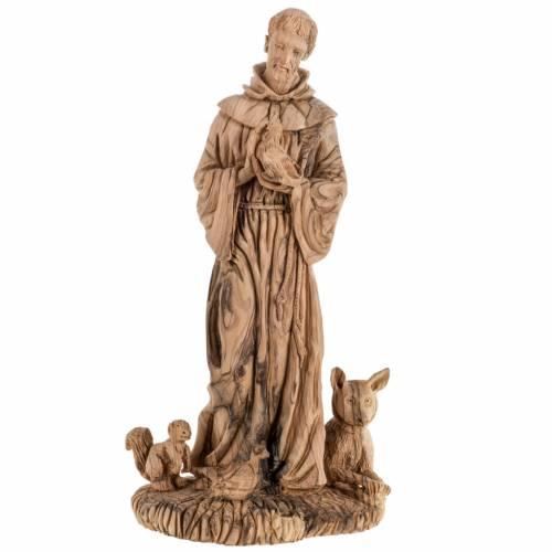 Statue Saint François bois d'olivier Terre Sainte 30cm s1