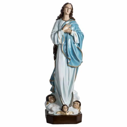 Statue Vierge de l'assomption 100 cm fibre de verre lucide s1