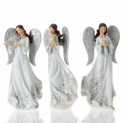 Statues trois Anges avec instruments blanc et argenté s1