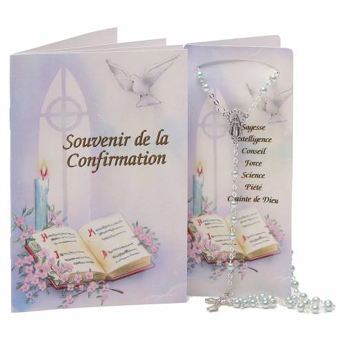 STOCK Book Confirmation in FRENCH with light blue rosary s1