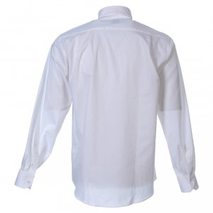 Clergy Shirts: STOCK Clergyman shirt in white popeline cotton, long sleeves